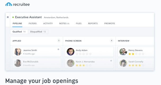 Recruitee dashboard screenshot