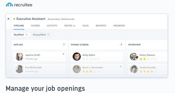 Recruitee dashboard screenshot