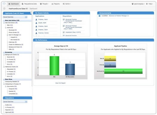 HealthCareSource application dashboard