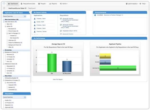 HealthCareSource application dashboard