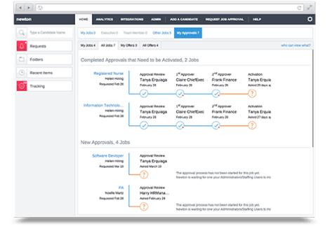 Newton applicant tracking system