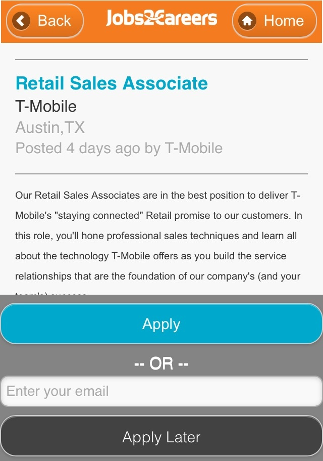 Jobs2Careers Mobile Site Apply